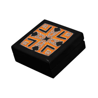 Orange & Silver Patterned top Gift Box