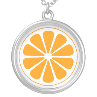 orange. silver plated necklace