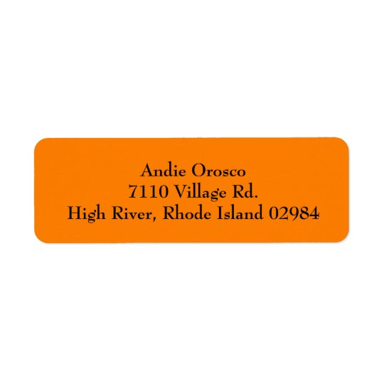 Orange Simple Plain Return Address Labels