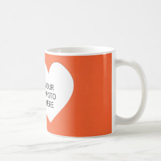 Orange Single Heart Add Photo Frame Basic White Mug