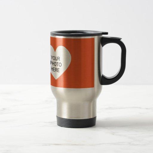 Orange Single Heart Add Photo Frame Mug