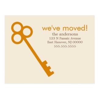 Orange Skeleton Key Moving Announcements Postcard