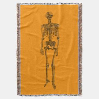 Orange Skeleton Skull Throw Blanket