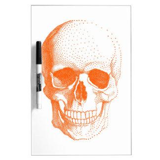 Orange skull dry erase board