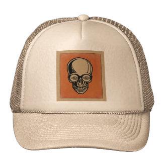 Orange skull trucker hat