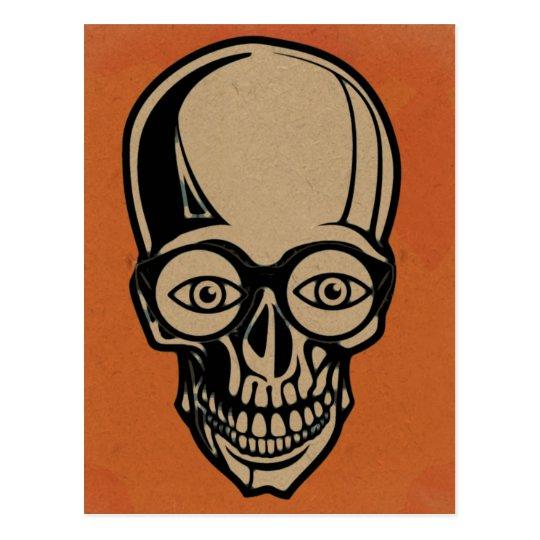 Orange skull postcard