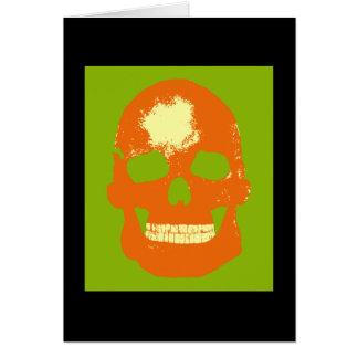 Orange Skull Silk Screen Greeting Card