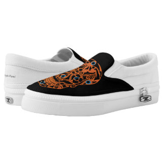 Orange Skull Slip On Shoes