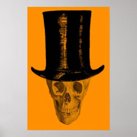 Orange Skull Top Hat Poster