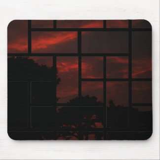 Orange sky in the night mouse mat