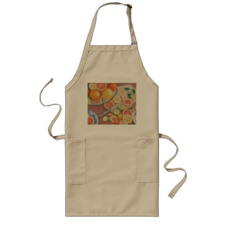 orange slice display colored pencil drawing print long apron