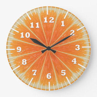 orange slice large clock