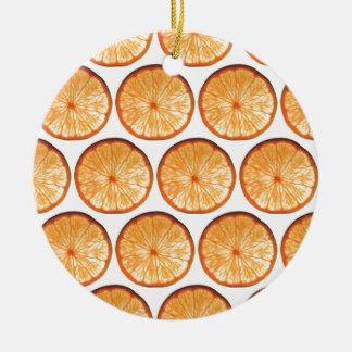 Orange slice round ceramic decoration