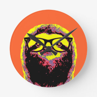 Orange Sloth Round Clock