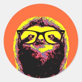Orange Sloth Round Sticker