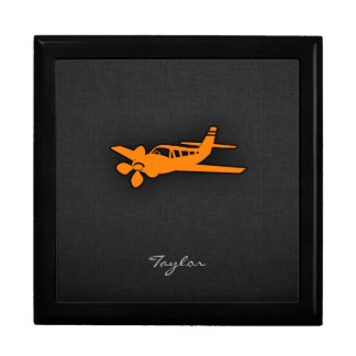 Orange Small Airplane Large Square Gift Box