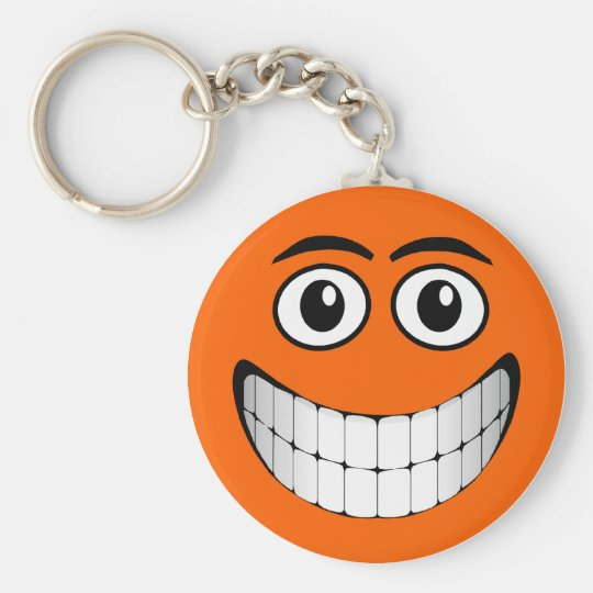 Orange Smiley Face Basic Round Button Key Ring