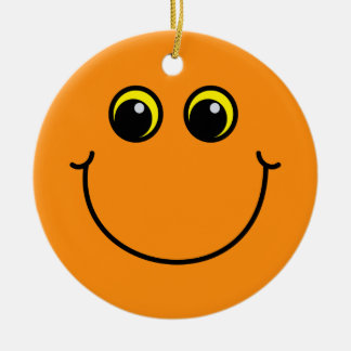 Orange Smiley Face Christmas Ornament