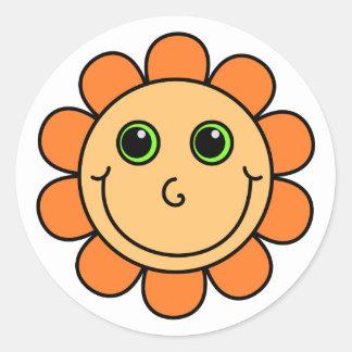 Orange Smiley Face Flower Round Sticker
