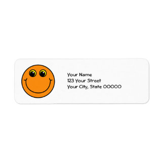 Orange Smiley Face Return Address Label