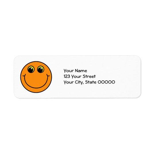 Orange Smiley Face Return Address Label
