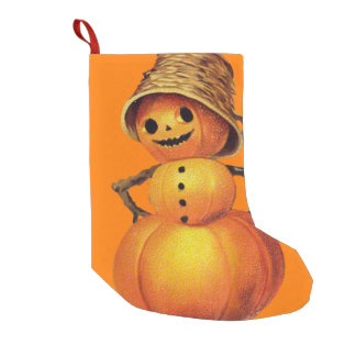 Orange Smiling Jack O Lantern Pumpkin Snowman Small Christmas Stocking