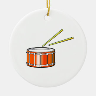 orange snare graphic with sticks christmas ornament