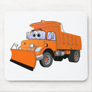 Orange Snow Plow Cartoon Mouse Pad