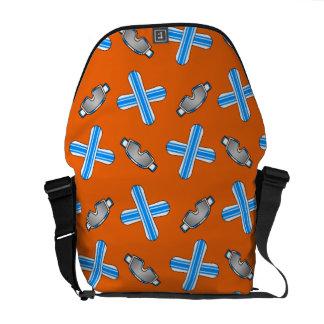 Orange snowboard pattern courier bag