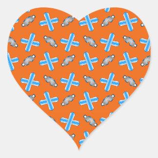 Orange snowboard pattern heart sticker