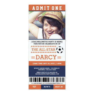 Orange Soccer Bachelorette Party Invites