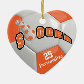 Orange Soccer Ball | Personalize Christmas Ornament