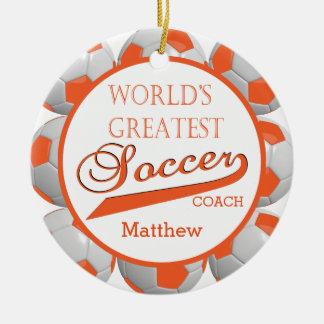 Orange Soccer Ball | Template Christmas Ornament