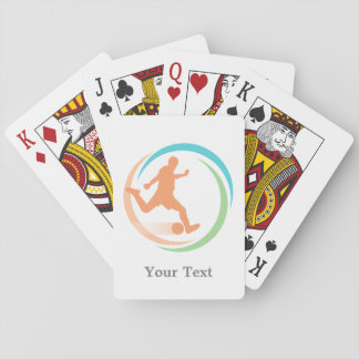 Orange Soccer Circle Logo Personalized Playing Cards