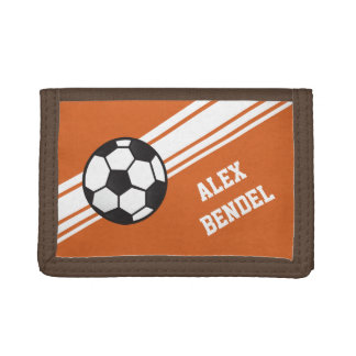 Orange Soccer Sporty Sport Stripes Boys Wallet