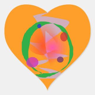 Orange Space Heart Sticker