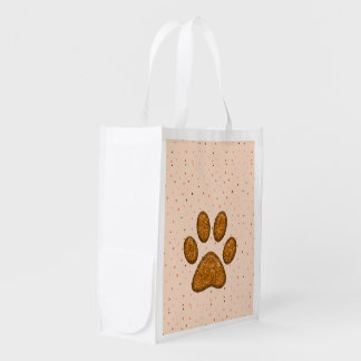 orange sparkling cat paw print - reusable bag