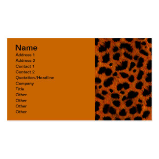 ORANGE SPECKLED BLACK ANIMAL PRINT PATTERN DIGITAL PACK OF STANDARD BUSINESS CARDS