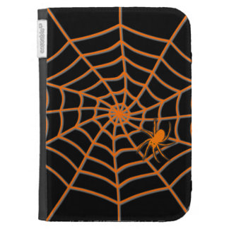 Orange spider and web on black kindle covers