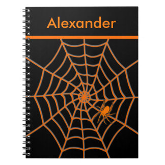 Orange spider and web on black personalized notebook
