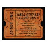 Orange Spider Web Vintage Halloween Ticket