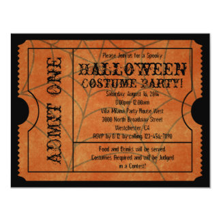 Orange Spider Web Vintage Halloween Ticket Card