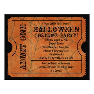 Orange Spider Web Vintage Ticket Invitations