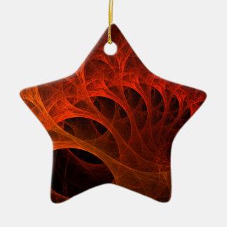 Orange Spirals Of The Mind Ceramic Star Decoration