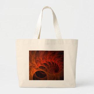 Orange Spirals Of The Mind Large Tote Bag