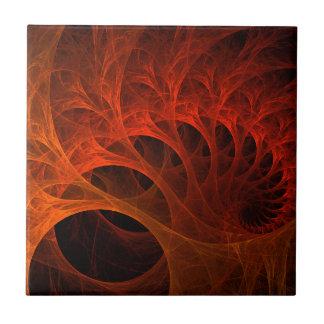 Orange Spirals Of The Mind Tile