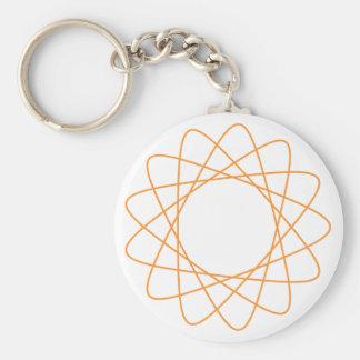 Orange Spirograph Basic Round Button Key Ring