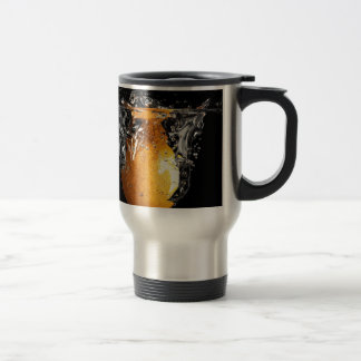 Orange Splash Stainless Steel Travel Mug
