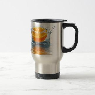 Orange splashing in water stainless steel travel mug