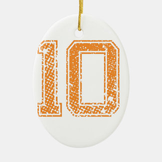 Orange Sports Jerzee Number 10.png Christmas Ornament